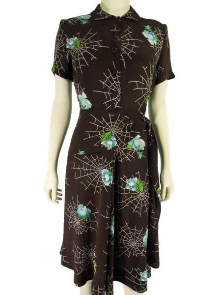 40s Brown Rayon Spider Webs & Roses Dress – Better Dresses