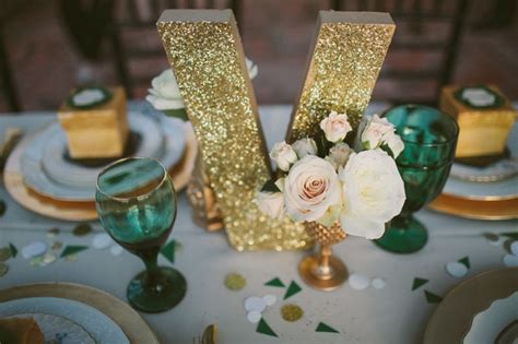 Emerald Green & Gold Engagement Party Inspiration