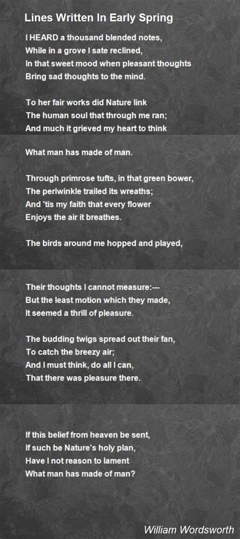 Lines Written In Early Spring Poem by William Wordsworth
