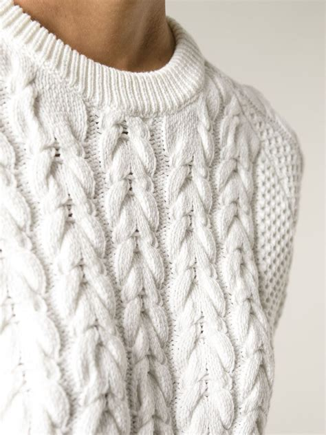 JOSEPH Short Sleeve Cable Knit Sweater in White - Lyst