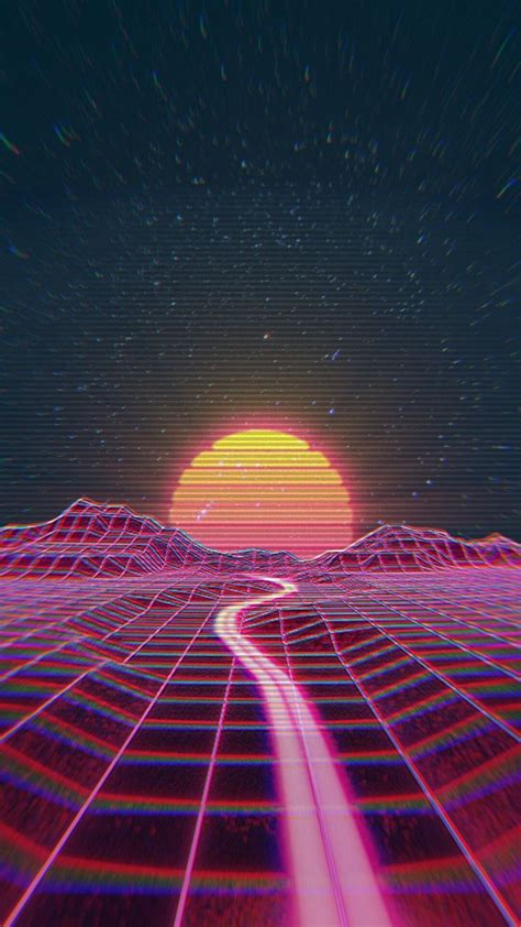 Retro wave synth wave   Rainbow Synthwave in 2019   Iphone