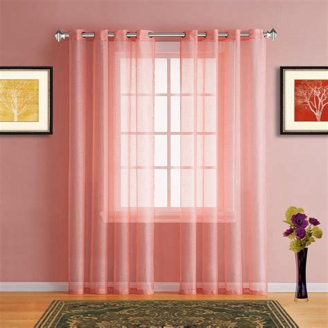 Warm Home Designs Pink Coral Sheer Curtains & Window Scarf