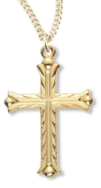 Women's 14kt Gold Over Sterling Silver Etched Cross