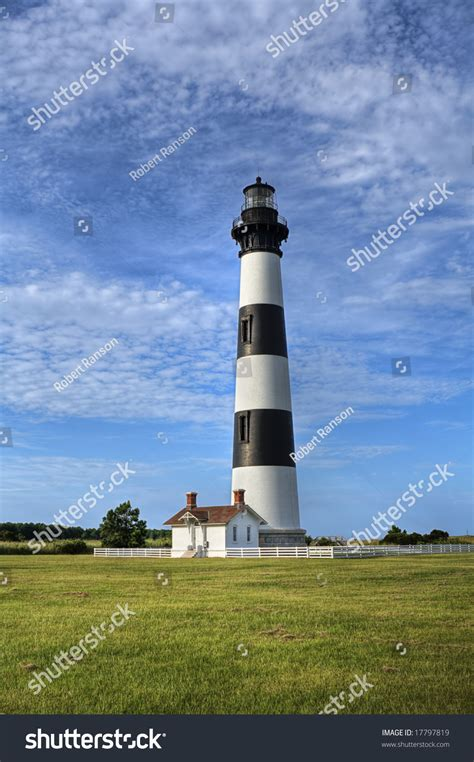 Black White Striped Lighthouse Located North Stock Photo
