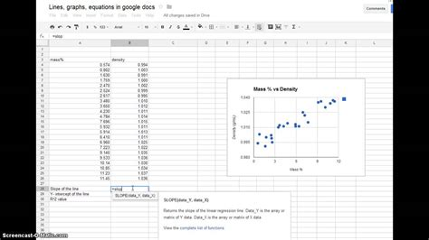 Lines, Graphs, Equations in Google Docs - YouTube