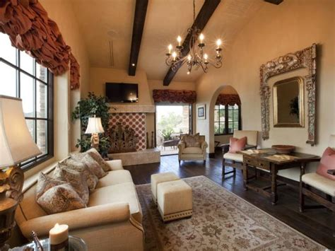 Neutral Old World-Style Living Room With Red Accents | HGTV