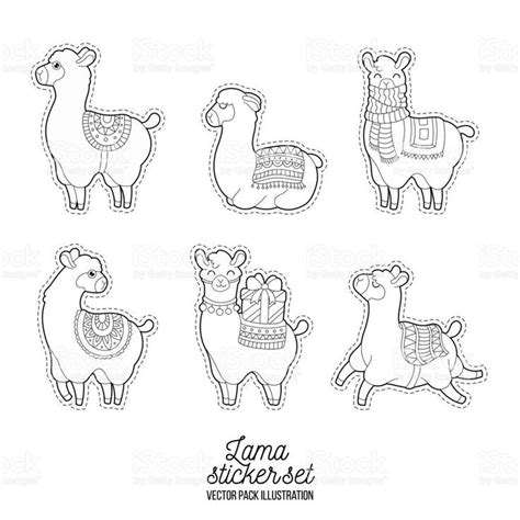 Cute llama and alpaca for adult coloring pages