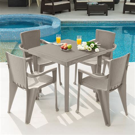 MQ Infinity PP Resin 5-Piece Outdoor Patio Table and