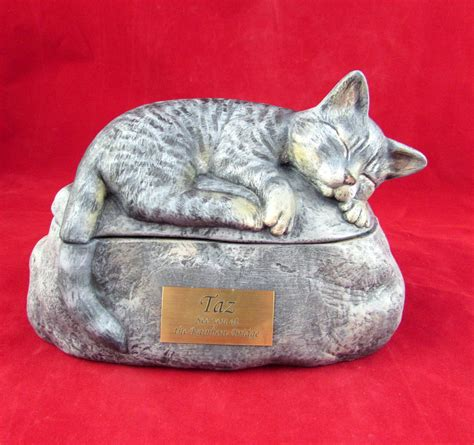 Ceramic Engraved Painted Cat Cremation Urn with Plastic
