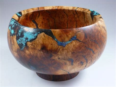 Wood Turned Bowls With Turquoise, Used Woodworking Tools