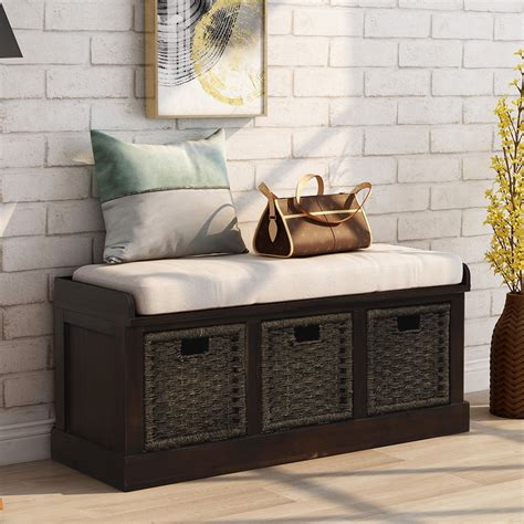Entryway Storage Bench, Rectangular Footstool with 3